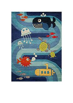 Momeni LIL MO UNDER THE SEA RUG 4X6 BLUE