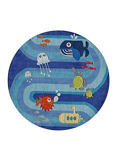 Momeni LIL MO UNDER THE SEA RUG 5X5 BLUE