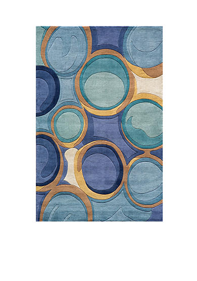 Momeni New Wave Bubbles Blue Area Rug