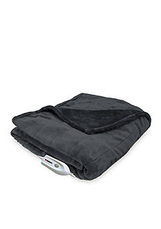 Serta® Heated Silky Sable Plush Warming Throw