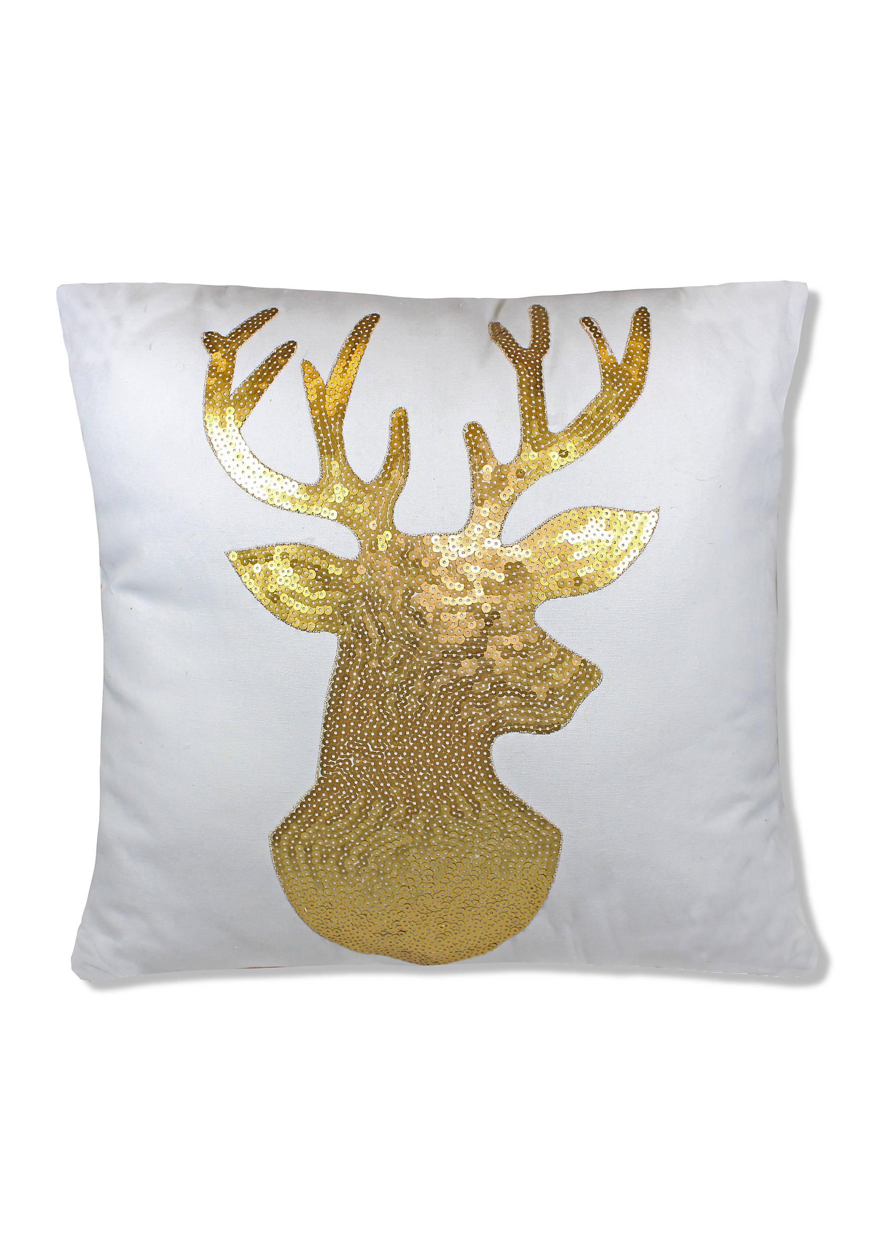 Navy blue and yellow decorative pillows - Sequin Reindeer Decorative Pillow