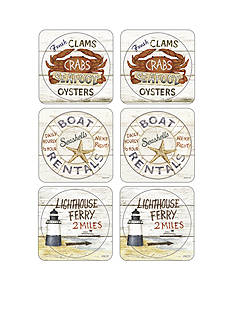 pimpernel Coastal Signs Coasters - Set of 6