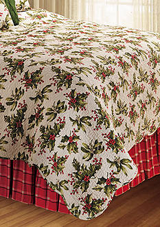 C&F Winter Berries Plaid Woven King Bed Skirt