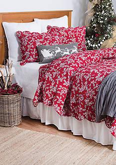 C&F Silver Mistletoe Twin Quilt