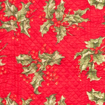 Holiday Table Linens: Multi Red C&F HOLLY RED QLT PM