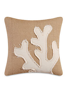 C&F Coral Burlap Embroidered Pillow
