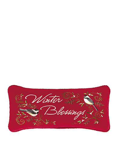 C&F Winter Berries Velvet Embroidered Decorative Pillow