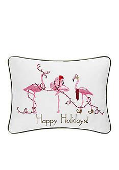 C&F Happy Holidays Flamingo Pillow