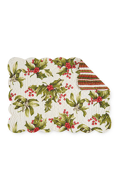 C&F Mistletoe And Holly Reversible Quilted Placemat