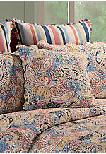 Bright Blue Paisley Square Pillow 20-in. X 20-in.
