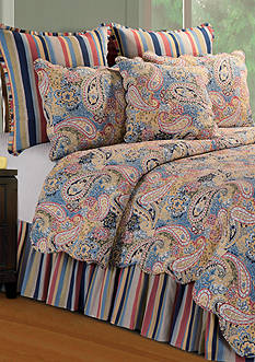 C&F Bright Blue Paisley Twin Quilt 66-in. X 86-in.