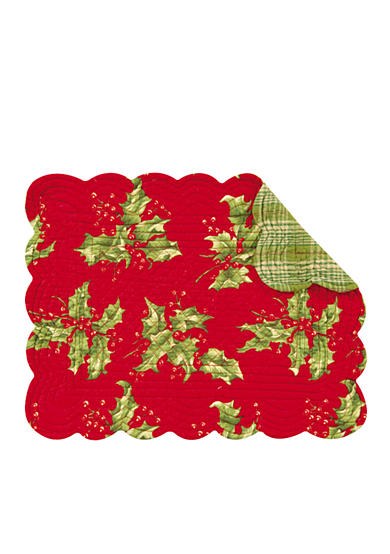 C&F Holly Red Reversible Table Linens - Sold Separately