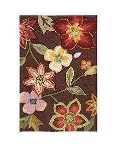 Nourison Fantasy Chocolate Elegant Bouquet Area Rug