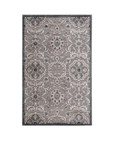Nourison Graphic Illusions Floral Grey Area Rug