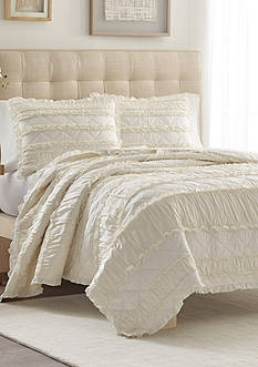 Stone Cottage Ivory Ruffle Twin Quilt/Sham Set