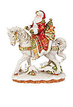Damask Holiday Santa On A Horse Figurine 16-in. H - Online Only