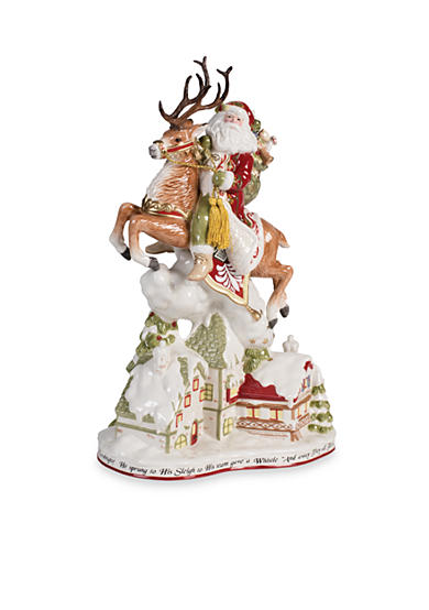 Fitz and Floyd Damask Holiday Up On The Housetop Santa on Horse Figurine