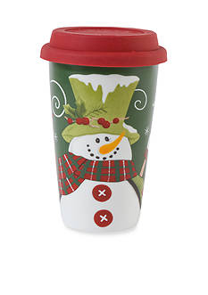 Fitz and Floyd Holly Hat Snowman Travel Mug