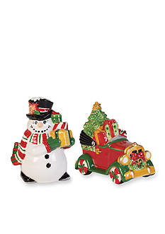 Fitz and Floyd Top Hat Frosty Salt And Pepper Set