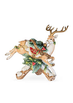 Fitz and Floyd Yuletide Holiday Collection Leaping Deer Right Facing