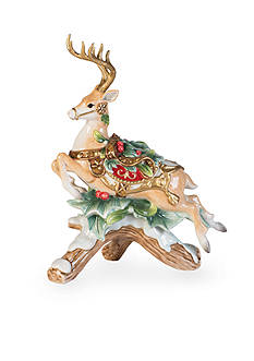 Fitz and Floyd Yuletide Holiday Collection Leaping Deer Left Facing