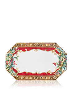 Fitz and Floyd Yuletide Holiday Octagonal Elongated Tray