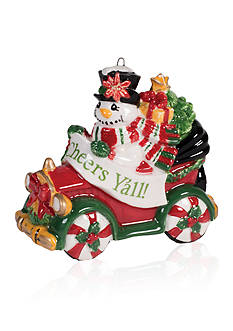 Fitz and Floyd Y'all Top Hat Frosty 2016 Dated Ornament