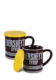 Fitz and Floyd Hershey's Syrup Can Mug w/ Lid, 14 oz., Set of 2