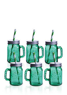 Fitz and Floyd Jolly Rancher Green Apple Jolly Jar Sippee Mug, 16-oz., Set of 6