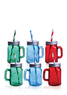 Fitz and Floyd Jolly Rancher Jolly Jars Blue Raspberry/Green Apple/Cherry, 16-oz, Set of 6