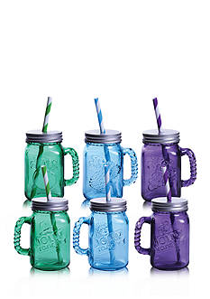 Fitz and Floyd Jolly Rancher Jolly Jars Blue Raspberry/Green Apple/Watermelon, 16-oz, Set of 6