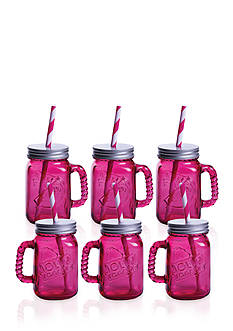 Fitz and Floyd Jolly Rancher Jolly Jars Watermelon, 16-oz, Set of 6