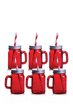 Fitz and Floyd Jolly Rancher Jolly Jars Cherry, 16-oz, Set of 6