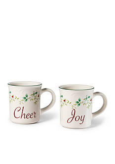 Pfaltzgraff Winterberry Joy & Cheers Mugs, Set of 2