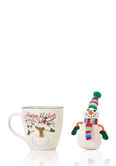 Pfaltzgraff Winterberry 20-oz. Mug Porcelain with Stuffed Snowman Ornament