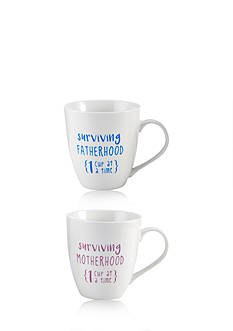 Pfaltzgraff Set of 2 18-oz. Surviving Motherhood Fatherhood Mugs