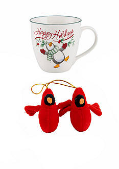 Pfaltzgraff Mug with Stuffed Cardinal Ornament