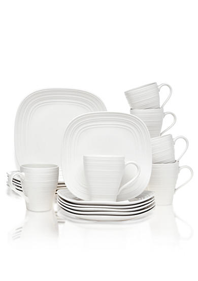 Mikasa Swirl Square Ironstone White 18-Piece Dinnerware Set