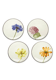 Noritake Colorwave Chocolate Set of 4 Floral Appetizer Plates