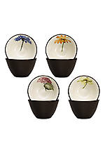 Colorwave Chocolate Set of 4 Floral Bowls
