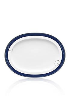 Noritake Platinum Wave Indigo Oval Platter