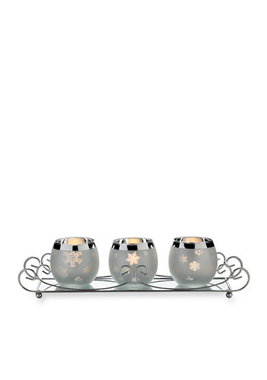 Towle Set of 3 Snowflake Votives with Caddy