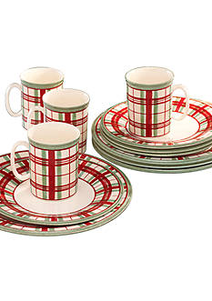 Lenox® Holiday Gatherings 12-Piece Plaid Dinnerware Set