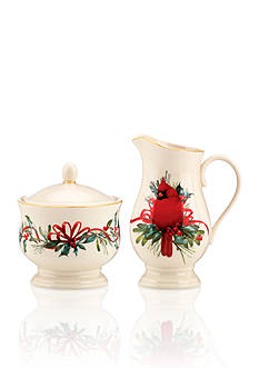 Lenox Winter Greetings Cardinal Sugar & Creamer Set