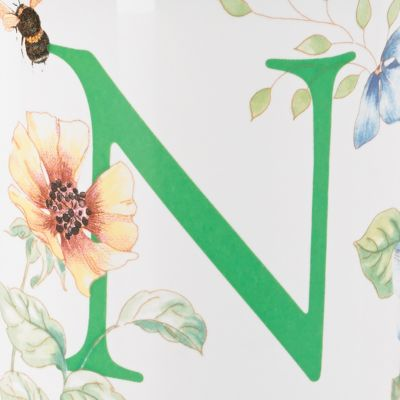 Coffee Mugs: N Lenox Butterfly Meadow Monogram Travel Mug