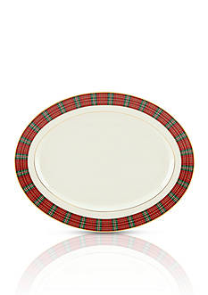 Lenox Winter Greetings Plaid Oval Platter