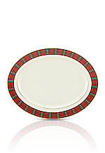 Winter Greetings Plaid Oval Platter