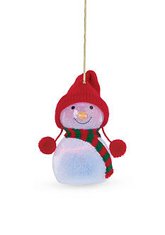 Lenox Lit Wonderball Snowman Glass Ornament