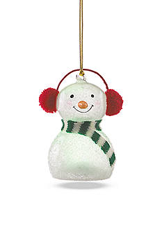 Lenox Wonderball Snowman in Red Knit Muffs Lighted Ornament Set