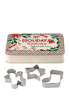 Lenox Home for the Holidays Rectangular Tin & 3 Cookie Cutters